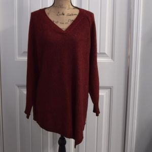 Red Black Asymmetrical Sweater Size 2X